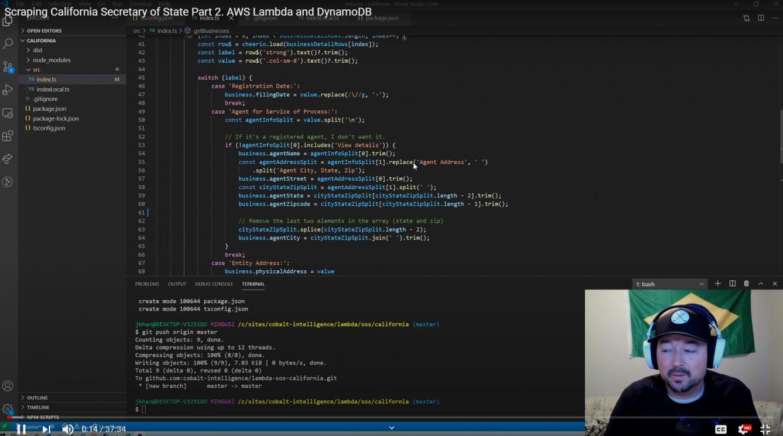 Jordan Scrapes California, implemented into AWS Lambda and DynamoDB