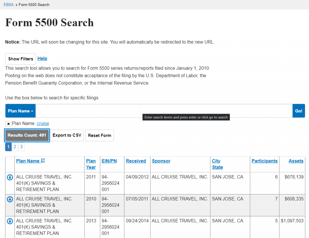 form 5500 search example